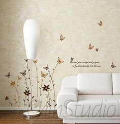 Vinyl wall decals wall stickers flower decals home decor-Flying butterfly wall arts. $29.00, via Etsy.
