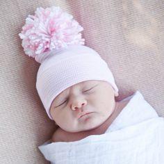 Pink and White STRIPED Nursery Hospital Hat with Big Handmade Pink Pom Pom 0518cdb1f010