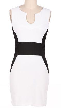 White Sleeveless Split Dress // strong design lines that create the illusion of shape #wearabledesign