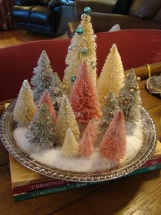 Simple dollar store trees made to look like vintage bottle brush trees from years past. Retro Christmas, Christmas Love, Rustic Christmas, Winter Christmas, Christmas Ornaments, Christmas Trees, Christmas Tablescapes, Christmas Centerpieces, Xmas Decorations
