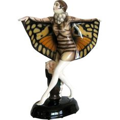 Exquisite Austrian Goldscheider porcelain figure of a dancing girl with butterfly wings. The piece is artist signed Lorenzl. Goldscheider, Noblesse, Girl Dancing, Butterfly Wings, Austria, Art Deco, Christmas Ornaments, Holiday Decor, Artist