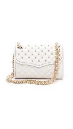 Rebecca Minkoff Mini Quilted Affair with Studs. Interwoven Leather Chain Strap. Flap Top. White.