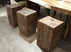 Block wood side tables.