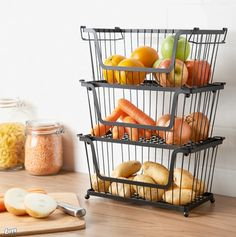 Stackable Basket Bring some functionality into your kitchen with this fantastic stackable basket. Kitchen Vegetable Storage, Kitchen Counter Storage, Kitchen Organization Pantry, Kitchen Pantry, Kitchen Dining, Kitchen Decor, Kitchen Utensils, Kitchen Gadgets, Countertop Organization