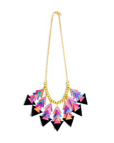 Geometric Chevron Bib Necklace