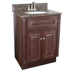Heritage Cherry Finish and Baltic Brown Granite Top Bathroom Vanity | Overstock.com Shopping - Great Deals on Bath Vanities
