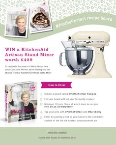 Win a Kitchen Aid Artisan Stand Mixer!  #MaryBerry #CooksthePerfect #PinthePerfect  Click on the pin for Ts & Cs Kitchenaid Artisan Stand Mixer, My Favorite Food, Favorite Recipes, Cook Up A Storm, Mary Berry, Feeling Hungry, Wonderful Recipe, Kitchen Aid Mixer, Frogs