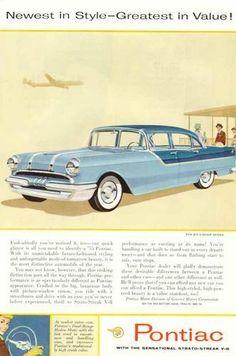 1955 Pontiac Strato-Streak V-8 4 Door Sedan Ad