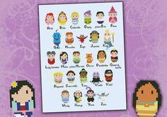 Disney alphabet chibi - PDF cross stich pattern via Etsy