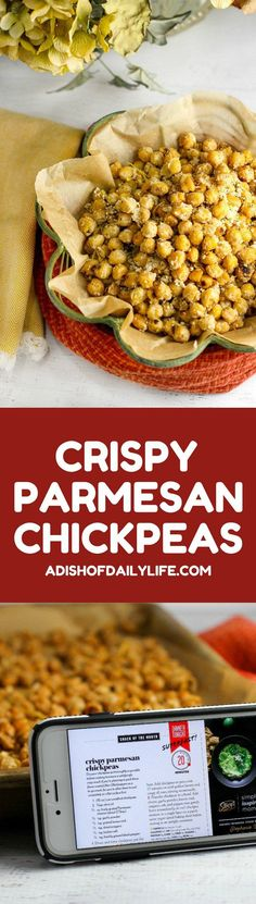 Crispy Parmesan Chickpeas ~ Snack healthy with this delicious, easy recipe! A great appetizer, too!