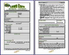 Free Printable Lawn Service Contract Form (GENERIC) | Sample ...