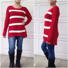 Stylish tunic sweaters Great holiday sweater......Please do not purchase this listing. Comment with size and I will create a new listing for you.                                      Womens loose fit contrast stripe long sleeve tunic sweater. Price is firm unless bundled. 75%acrylic 25%nyon                                               Small bust 35' Medium 37' Large 39' Sweaters