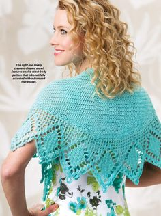Crochet - This light and lovely crescent-shaped shawl features a solid-stitch body pattern that is beautifully accented with a diamond filet border. It is made using a fingering-weight yarn. Previously published in Crochet World June - Crochet Wrap Pattern, Crochet Shawl, Crochet Lace, Free Crochet, Crochet Patterns, Doll Clothes Patterns, Clothing Patterns, Fingering Yarn, Crochet World