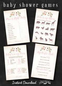 Boho Baby Shower Purse Game Card  Instant Download by AlwaysBBrave