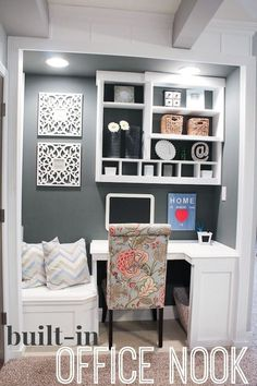 Built-In Office Nook  great for an apartment or small house...reach in closet with doors removed by allyson