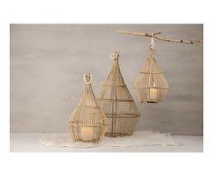 Lanterne bois de pin, naturel - H80