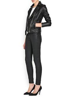 MANGO - NEW - Jupes - Mini - Jean super slim noir enduit