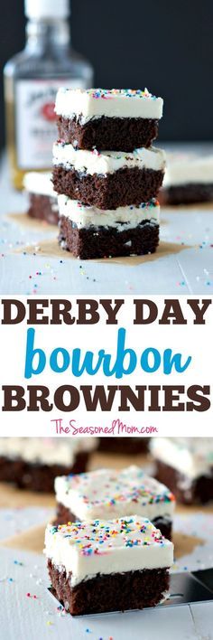 Turn a box of brownie mix into these festive and EASY Derby Day Bourbon Brownies! Brownie Recipes | Kentucky Derby Food | Southern Food | Derby Day Party Ideas | Kentucky Derby Party Ideas | Easy Dessert Recipes | Dessert Ideas | Chocolate Desserts