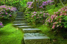Meandering path through Japanese Garden, Portland Oregon, USA © Brian Jannsen Photography
