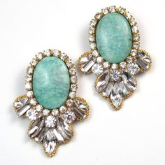 Reserved for Kim - Statement earrings green jade swarovski crystal embellished stud earrings