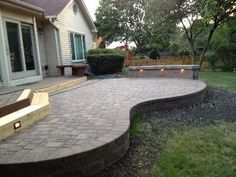 Raised Patio Pavers. Raised Paver Patio With Seat Wall And Outdoor Lighting  Custom Designed Built