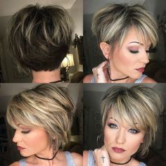 Thin Hair Haircuts, Short Bob Hairstyles, Short Hair With Layers, Short Hair Cuts, Love Hair, Great Hair, Blonde Pony, Medium Hair Styles, Curly Hair Styles
