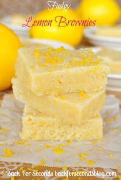 Fudgy Lemon Brownies - Oh my. these are HEAVENLY!! #lemon #dessert #brownies