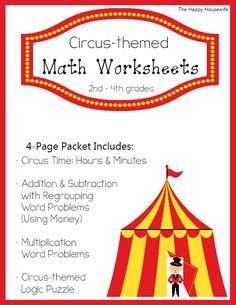 Free Circus Themed Math Worksheets - geared for grades Homeschooling 2nd Grade, Homeschool Math, Curriculum, Circus Activities, Math Activities, Preschool Circus, Preschool Ideas, Family Math Night, School Fun