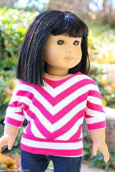 Sew a trendy striped shirt for dolls. Free pattern and tutorial included!