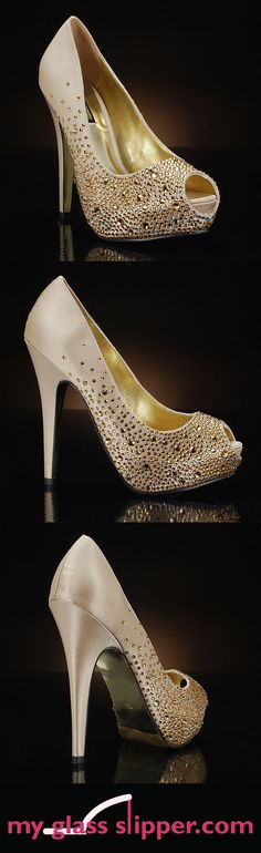 SALVADOR in GOLD by BENJAMIN ADAMS: Gold wedding shoes with a glamorous sprinkling of sparkly Swarovski crystals. Perfect for weddings or evening events! $375    www.myglassslipper.com/wedding-shoes/benjamin-adams/salvador-gold-7890