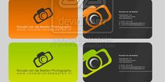 Brigh colored camera logo business cards for your photography business