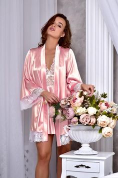 8386b1958 Lace peignoir set Bridal lingerie wedding night Satin nightgown and kimono  lace robe Wedding night lingerie Bridesmaid robe Bridal nightgown