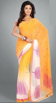 Fancy Off White and Orange Printed Saree #Sarees #Sarees-OnlineShopping