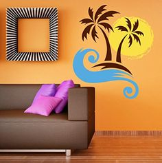 Wall Stickers Murals, Wall Decal Sticker, Easy Wall, Living Room Bedroom, Wall Colors, Palm, Sun, Wall Art, Interior Design