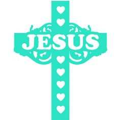 Jesus+lettering+cross+decorated+with+hearts.  Vinyl+decal+handmade,+outdoor+UV+and+weather+resistant.+Size+is+approx.+5.2+inches.  Decals+are+great+for+kayaks,+boats,+windows,+autos,+motorcycles,+mailboxes,+skateboards,+sleds,+snowmobiles+and+more.+Not+recommended+for+air-blown+products.  Colors+...