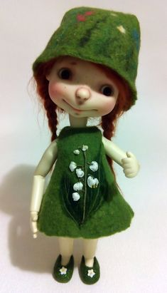 "Felted green OOAK outfit "" Lilies of the Valley"" for Sprocket by  Connie Lowe and dolls similar format"