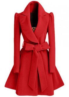 Belt Design Red Turndown Collar Coat on sale only US$36.62 now, buy cheap Belt Design Red Turndown Collar Coat at modlily.com
