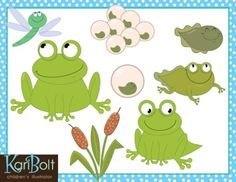 This FREE Frog Clip-Art set illustrates the life-cycle of a frog from egg to adult. Included is a cluster of eggs (spawn), single egg, tadpole, tadpole with legs, frog with tail, adult frog, dragonfly and cattails. Each png file is an average size of 8 inches so are perfect for classroom display or can be reduced for worksheets, activities, posters, and scrapbooks.300dpi, high resolution files for quality printing.Color and Black and White.png files with transparent backgrounds.PLEASE NOTE…