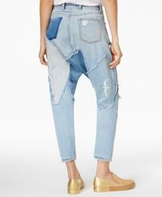 9206126a0f7fe Free People Blazing Summer Cotton Ripped Harem Jeans - Blue 28 Ripped Jeans