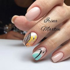 30 Cute Autumn Nail Designs You'll Want To Try Nude Nails With Abstracted Nail Art ★ Simple ideas with different colors, sparkle, and glitter involved to add that fresh seasonal style to your look. Nude Nails, Acrylic Nails, Dark Nails, Coffin Nails, Hair And Nails, My Nails, Gelish Nails, Nail Art Noel, Nagel Hacks