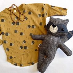 Camp Longsleeve (3 months - 4T), amber and hazelwood necklaces, and MY MENAGERIE RACCOON FRIEND. #TheLittleLife