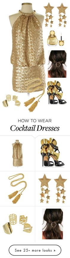 """""""Gold"""" by giulia-ostara-re on Polyvore featuring Laundry by Shelli Segal, Christian Dior, JustFab, Balmain and Kenneth Jay Lane Dress Outfits, Formal Outfits, Dresses, Gold Cocktail Dress, Hair St, Laundry By Shelli Segal, What's Trending, Balmain, Christian Dior"""