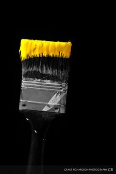 Paint brush with yellow paint--amazing. Photo by Craig Richardson #SplashofColor
