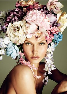 flowers for the bride, but maybe just a little less ... :) Karlie Kloss by Steven Meisel