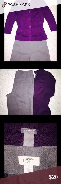Ann Taylor Bundle-2 Pieces 🚩LAST CHANCE🚩Ann Taylor Bundle includes 2 items: 1 pair of Gray Ann Taylor LOFT Laura Dress Pants.Size 6. Zips up at side. 2 faux pocket in the front at hips. Great condition. Shell is 100% wool & Lining is 100% Acetate.  Dry Clean only.  Beautiful plum colored Ann Taylor button up sweater size Medium.  4 large buttons and synched accented waist make this a great option for work or play. Acrylic/Nylon/Angora. Machine washable. please note one of the buttons is…