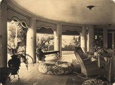 Lake Porch interior with furnishings | Reynolda House Museum of American Art. Proof that downstairs porches can work.
