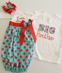Red and Aqua Little Sister Big Brother Sibling Set – Little Rose Boutique