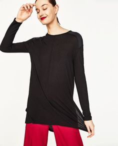 Image 1 of T-SHIRT WITH SIDE SLITS from Zara