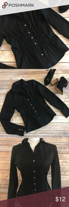 The Limited Cinched & Ruched Button Down Top The Limited Cinched & Ruched Button Down Top in black.  Size S.  Classy and elegant design, this top features ruching at the bodice on the front and lower back to accentuate the waist.  Very figure flattering. Long sleeves, collar, and button down front with three buttons on each cuff.  Excellent condition The Limited Tops Button Down Shirts
