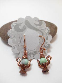 Earrings : Copper Green Opal Teapot Earrings